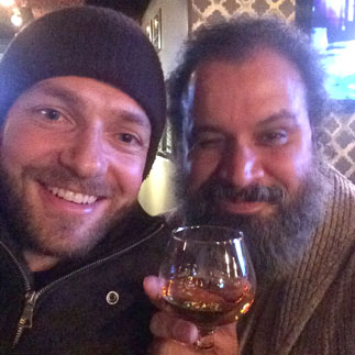 Ross Marquand and William Fuentes watching The Walking Dead